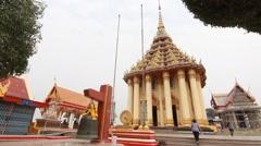 Thai temple, Wat Sangkat Rattana Khiri - Uthai Thani Stock Footage