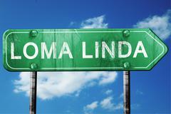 loma linda road sign , worn and damaged look - stock illustration