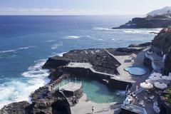 Natural swimming pool Charco Azul San Andres La Palma Canary Islands Spain - stock photo