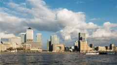 Time lapse: London Docklands skyscraper skyline and the River Thames - stock footage