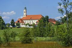 Annunciation church Reutberg monastery Sachsenkam Isarwinkel Upper Bavaria Stock Photos