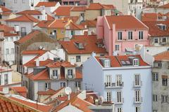 Roofs in the Alfama district Lisbon Portugal Europe - stock photo