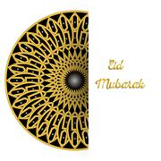 Stock Illustration of Illustration of Eid Mubarak greeting card with round ornate moroccam ornament