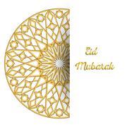 Illustration of Eid Mubarak greeting card with round ornate moroccam ornament - stock illustration