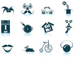 Set of April Fool's day icons Stock Illustration