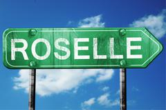 roselle road sign , worn and damaged look - stock illustration