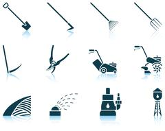 Set of gardening icons - stock illustration