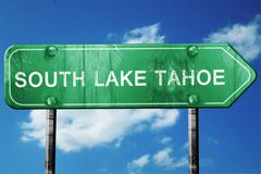 south lake tahoe road sign , worn and damaged look - stock illustration