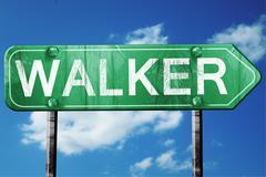walker road sign , worn and damaged look - stock illustration
