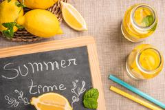 Glass of homemade lemonade Stock Photos
