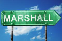 marshall road sign , worn and damaged look - stock illustration