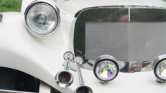 Close-up view  of a classic vintage car Stock Footage