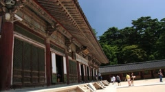 Tourists visit to Bulguksa temple in Gueongju, Korea. Stock Footage