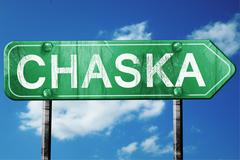 chaska road sign , worn and damaged look - stock illustration
