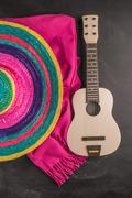 Mexican background with sombrero, guitar and blankets Kuvituskuvat