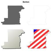 Benton County, Oregon outline map set Stock Illustration