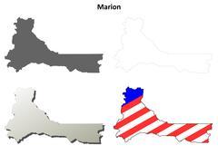 Marion County, Oregon outline map set - stock illustration