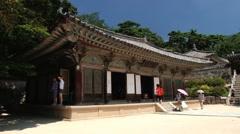 People visit to Bulguksa temple in Gueongju, Korea. Stock Footage