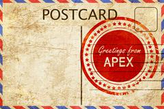 Stock Illustration of apex stamp on a vintage, old postcard