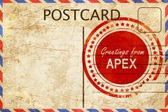 Apex stamp on a vintage, old postcard Stock Illustration