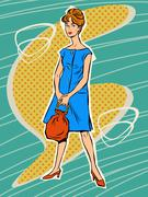 Beautiful woman in retro dress - stock illustration