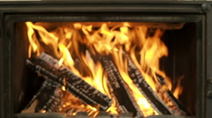 Fire in the fireplace zoom in Stock Footage