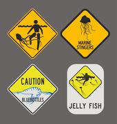 Jellyfish caution signs - stock illustration