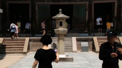 Tourists visit temple of Bulguksa in Gyeongju, Korea. Stock Footage