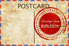 Burleson stamp on a vintage, old postcard Stock Illustration
