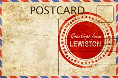 Stock Illustration of lewiston stamp on a vintage, old postcard