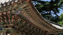 Roof of the Kwan Um pavilion in Bulguksa temple in Gueongju, Korea. Stock Footage