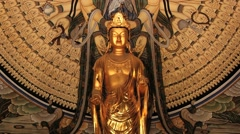 Buddha statue in the Kwan Um pavilion in Bulguksa temple in Gueongju, Korea. Stock Footage