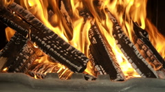 Fire in the fireplace zoom out - stock footage