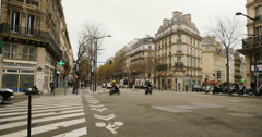 Typical French street with Paris advertising Stock Footage
