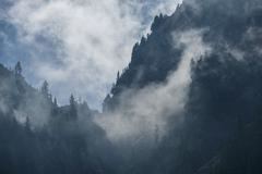 View of Mount Seymour in foggy weather, British Columbia, Canada - stock photo