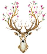 Watercolor hand drawn deer - stock illustration