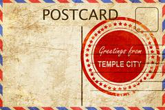 temple city stamp on a vintage, old postcard - stock illustration