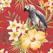 Stock Illustration of Tropical watercolor pattern