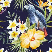 Tropical watercolor pattern - stock illustration