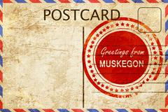 muskegon stamp on a vintage, old postcard - stock illustration