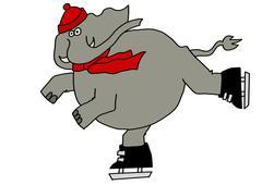 Elephant ice skating - stock illustration