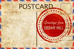cedar hill stamp on a vintage, old postcard - stock illustration
