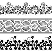 Set of vintage seamless borders. Victorian and chinese style. Stock Illustration