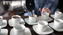 Barista shows a master class in cooking coffee Stock Footage