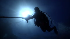 Lone diver making a safety stop in bluewater, HD, UP19098 - stock footage