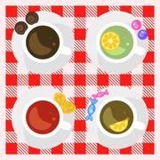 Set of coffee and tea cups top view on a checkered tablecloth surface - stock illustration