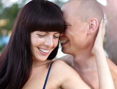 Young happy smiling couple in love Stock Photos