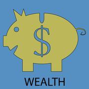 Wealth icon flat design - stock illustration