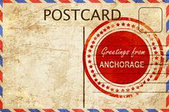 anchorage stamp on a vintage, old postcard - stock illustration