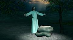 Jesus praying in the Garden of Gethsemane Stock Footage